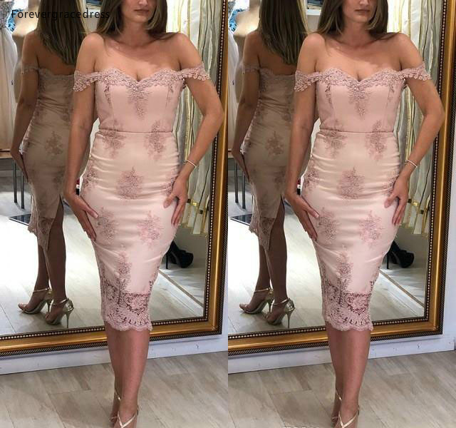2019 Elegant Pink Sheath Cocktail Dress Off Shoulders Tea Length Formal Club Wear Evening Prom Party Gown Plus Size Custom Made