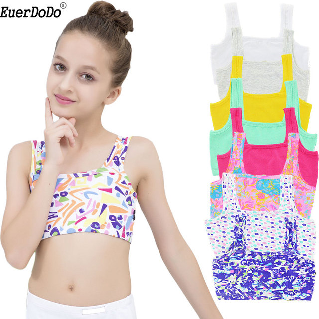 9026e6a76 Summer Girls Tank Cotton Vest Kids Underwear Colored Baby Camisole Student  Undershirts 4-14Y Teenager Tank Top For Children