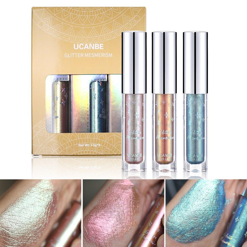Beauty Essentials Gentle Ucanbe 3pcs/lot Glitter Duo-chrome Liquid Eyeshadow Set Metallic Shiny Eye Shadow Makeup Pigment Waterproof Tint Eyeshadow Beauty & Health