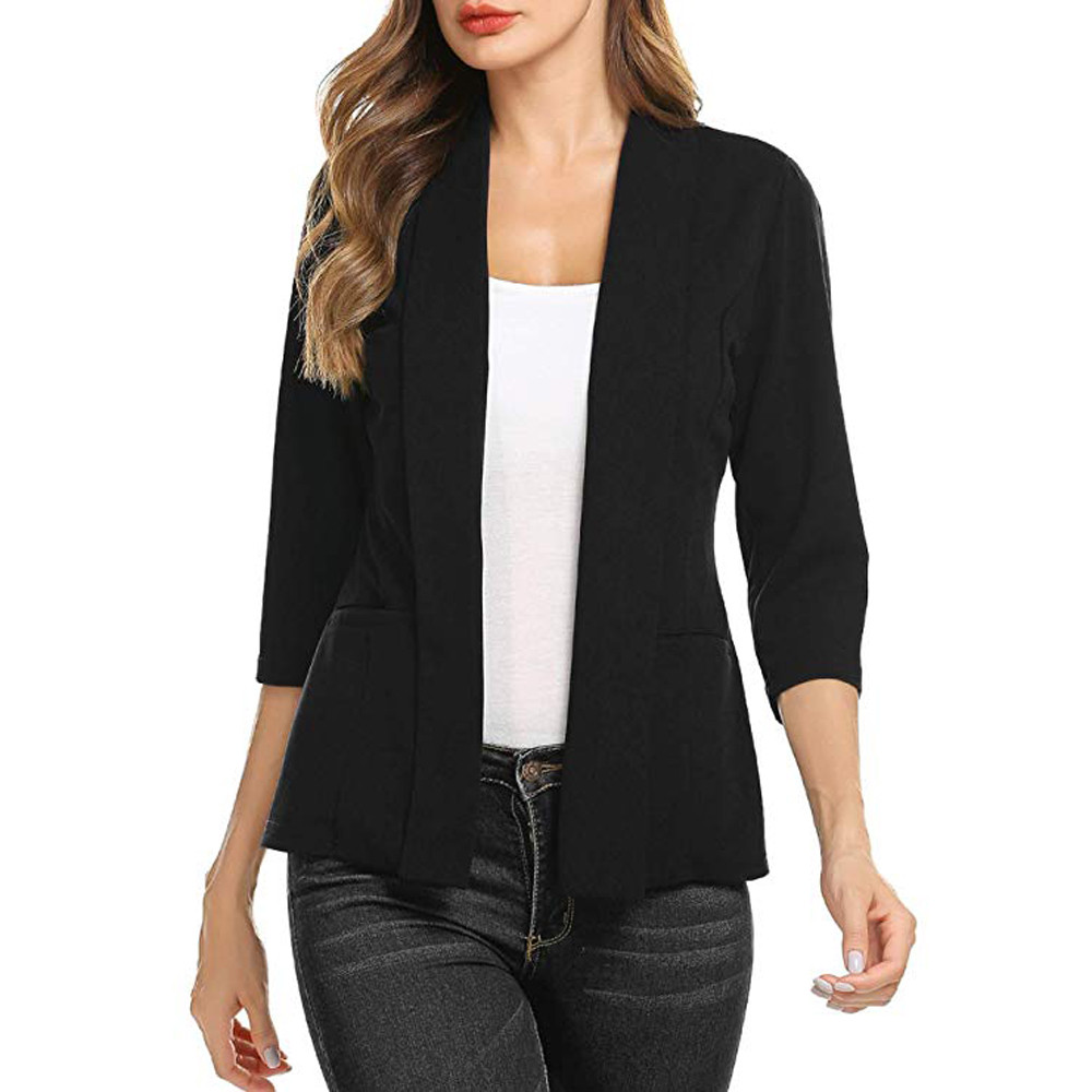 blazer feminino Women Mini Suit Casual 3/4 Sleeve Open Front Work Office Blazer Jacket Cardigan Outwear Women Tops veste femme