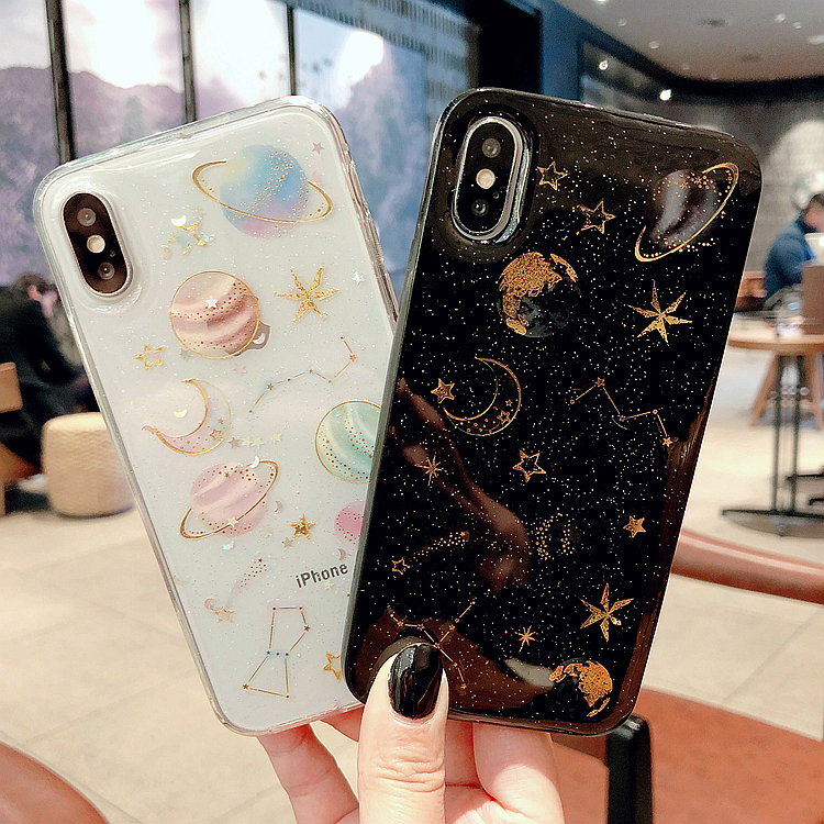 Universe Moon Stars Glitter Phone Cover For Iphone 7 8 6 6S Plus Soft TPU Bling Iphone X XS MAX XR Covers Shell