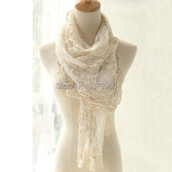 e5f0a1c6d Free Shipping Cotton Long Lace Scarf Solid Color Scarves Shawls For Ladies  White And Cream -