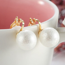 Elegant imitation pearl clip on earrings cushion without pierced earrings no ear hole clip jewelry(China)