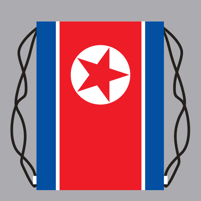Drawstring Backpack Bag with North_Korea Flag Small Backpack Printing Customized Logo image