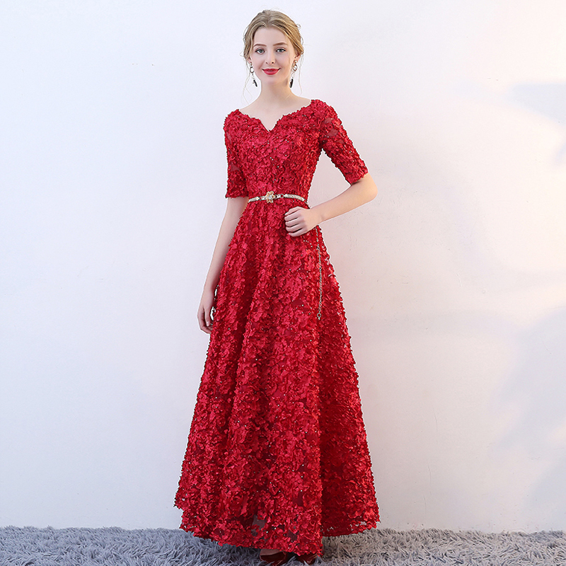 36e1ca61c1a6d7 Plus Sizes S to 6 XL Red Lace embroidery Half Sleeves Floor Length Sashes Evening  Dress
