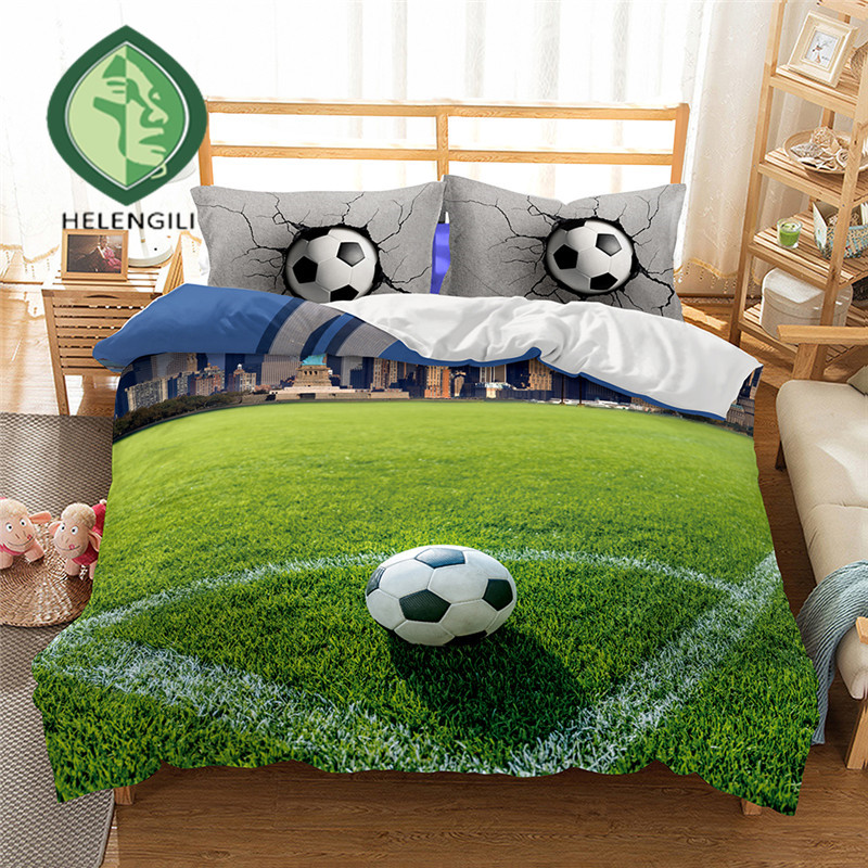 HELENGILI 3D Bedding Set football Print Duvet cover set lifelike bedclothes with pillowcase bed set home Textiles 2 6 in Bedding Sets from Home Garden