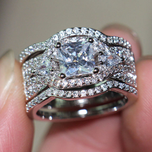 Victoria Wieckl Deluxe Jewelry Women Handmade Diamonique Cz Simulated Diamond 10KT White Gold Filled 3 Wedding Ring Set Size5-12