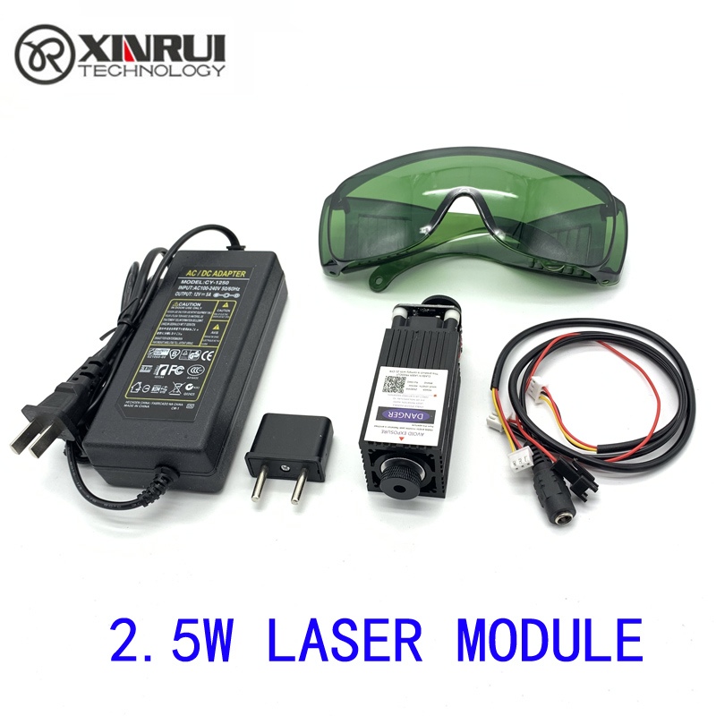 Free Shipping 450nm 2500mW 12V High Power TTL Adjustable Focus Blue Laser Module DIY Laser Engraver Accessories 2.5W Laser Head