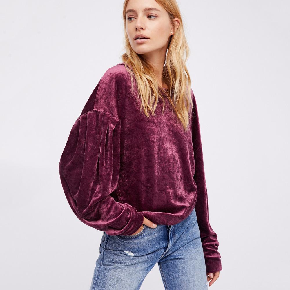 HDY Haoduoyi Women Purple Velvet Hoodies Long Sleeve Casual Sweatshirts Sweet Loose Pullovers 2017 Autumn Winter Tops Female new 6