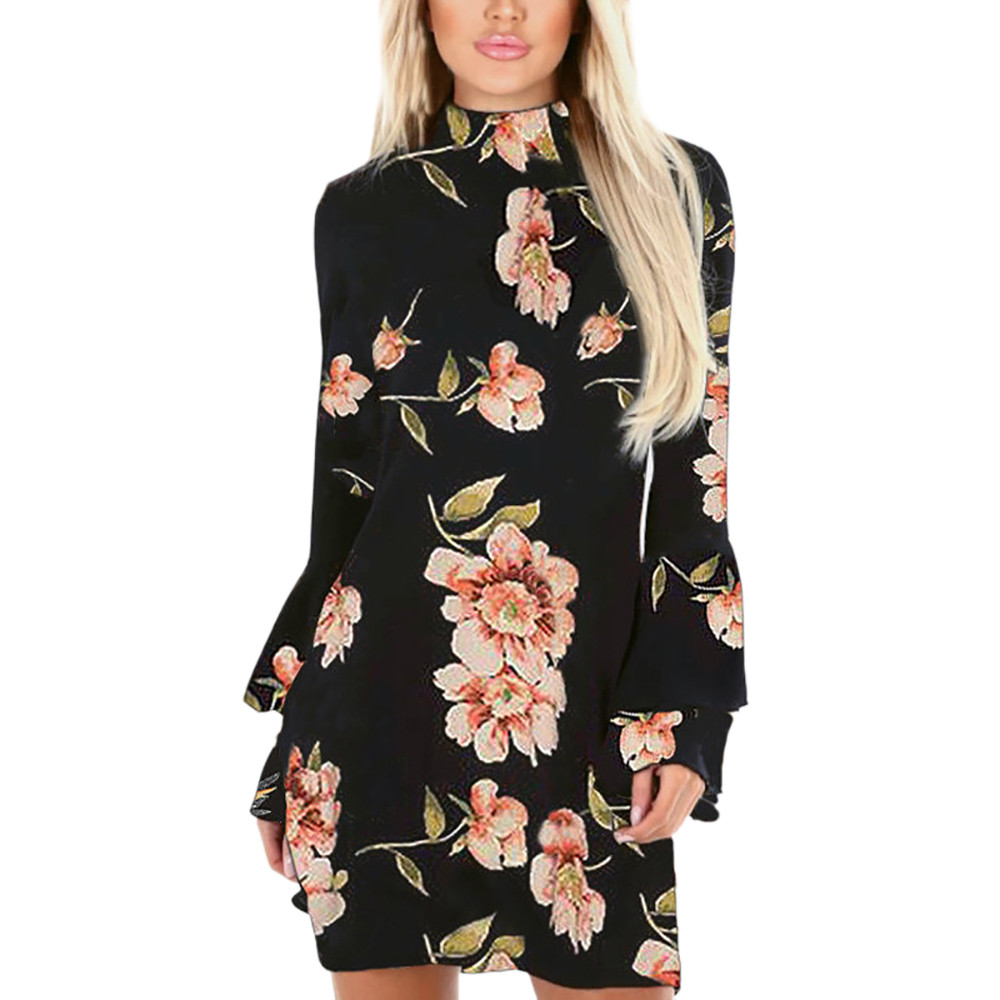 Womens Holiday Bell Sleeve Floral Ladies Summer Beach Party Dress women dresses Free Shipping Lady Dresses women dress summer