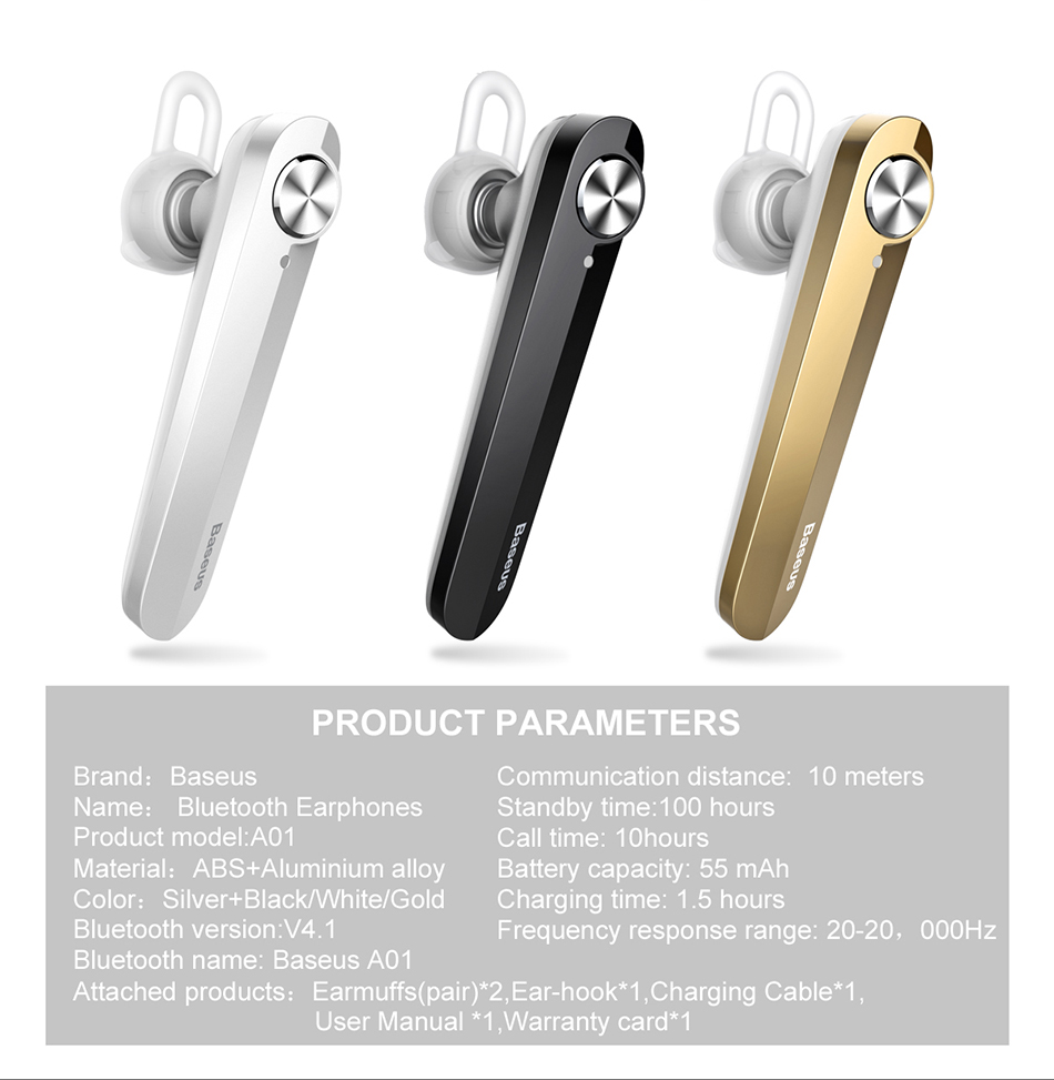 Baseus A01 Wireless Bluetooth Earphone Mini Business Portable Earphones With Microphone For xiaomi iPhone Driving Fone De Ouvido