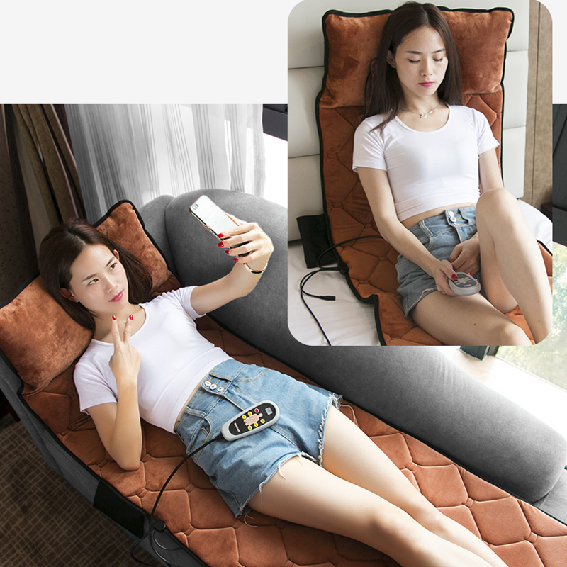 Electric Heating Vibrator Back Neck Massager Mattress Waist Cushion Mat Home Office Relax Bed Pain Relief For Sale image