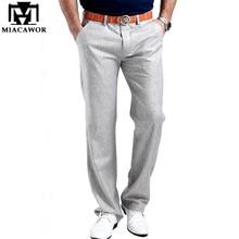 2019 Men Summer Linen Casual Pants Stretch Flax Cotton