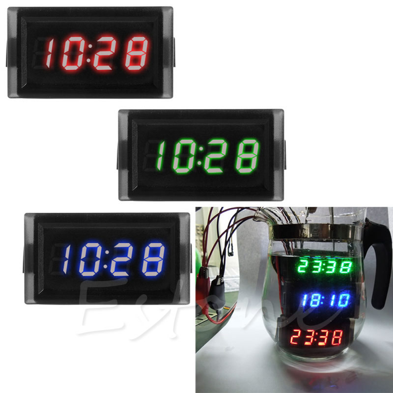 Waterproof LED Digital Alarm clock parts Watch timer 12v 24V for Home/Car Motorcycle Scooter HOT