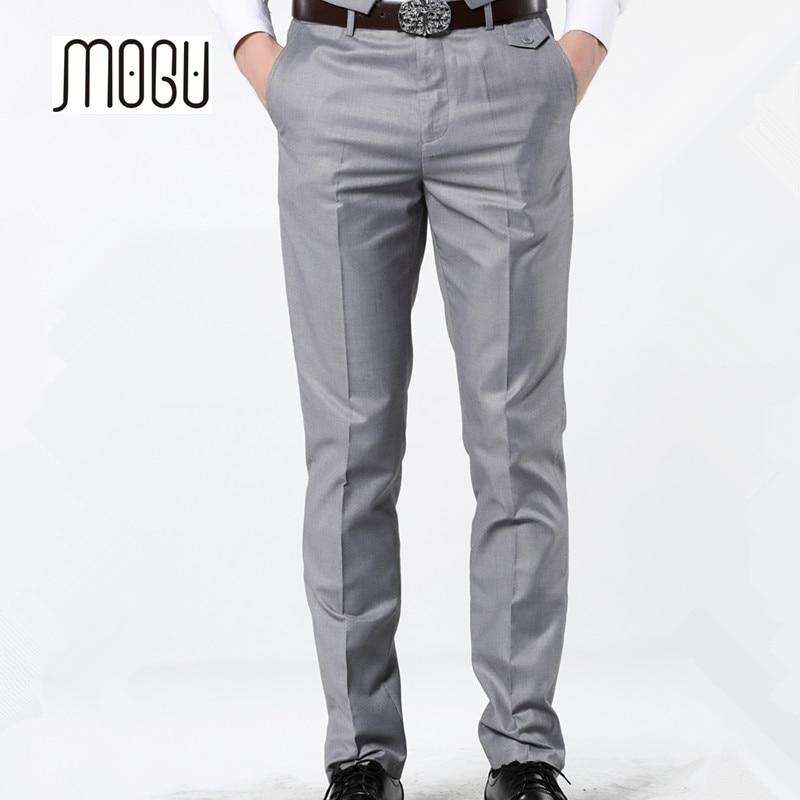 MOGU 2019 New Casual Dress Pants For Men 7 Colors Slim Men Dress Pants Red Mens Elastic Waist Dress Pants Skinny Casual Trousers
