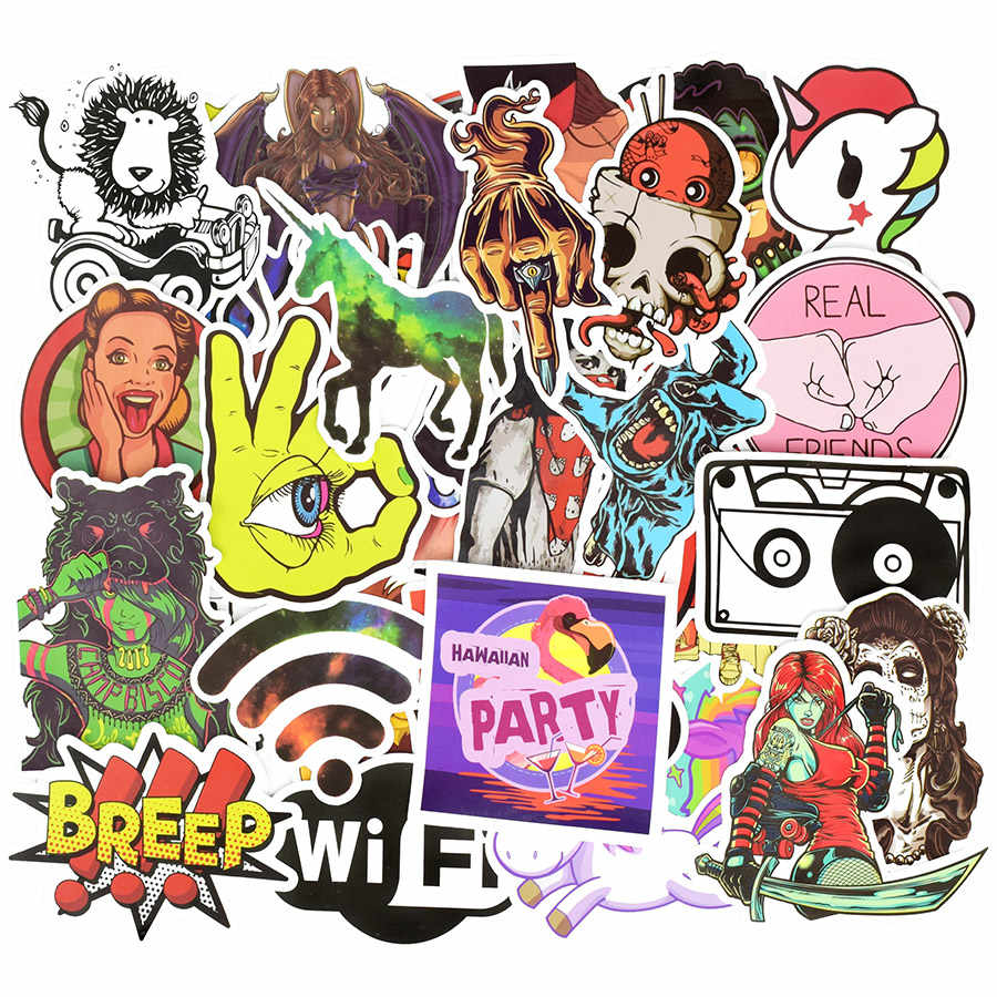 50 pcs punk mixed sticker anime cool jdm creative decal stickers for adults diy laptop luggage