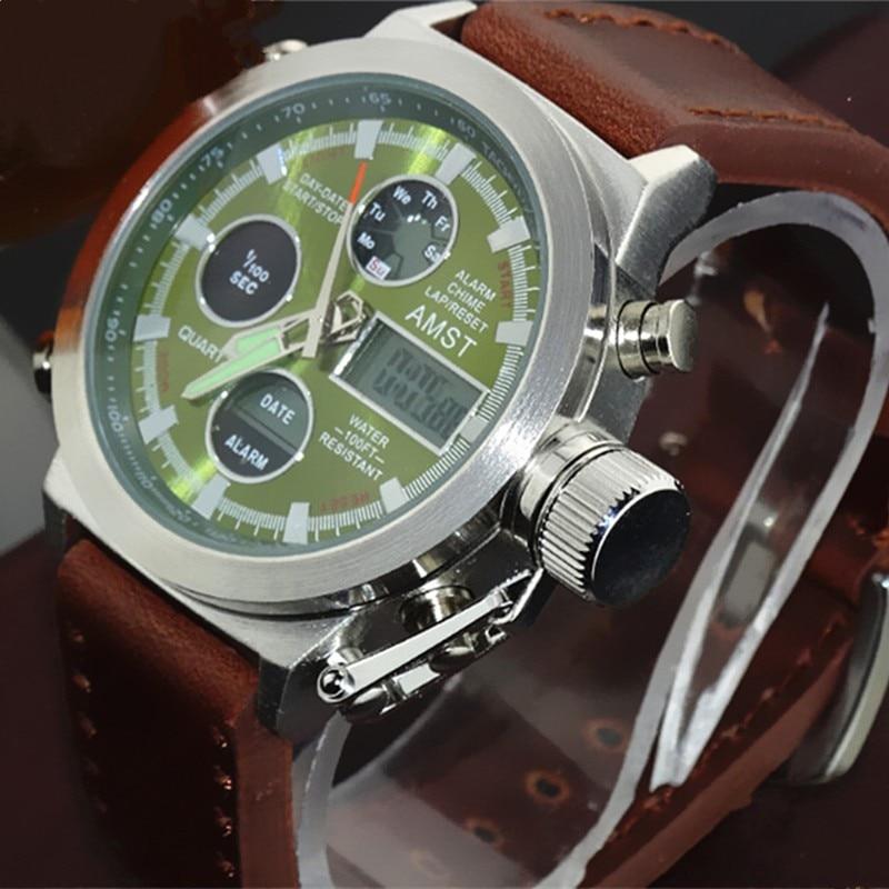 AMST Military Watches Dive 50M Nylon&Leather Strap LED Watches Men Top Brand Luxury Quartz Watch reloj hombre Relogio Masculino 17