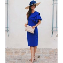 Royal Blue Satin Mother Of The Bride Dresses Plus Size One Shoulder Short Sleeves Keen Length