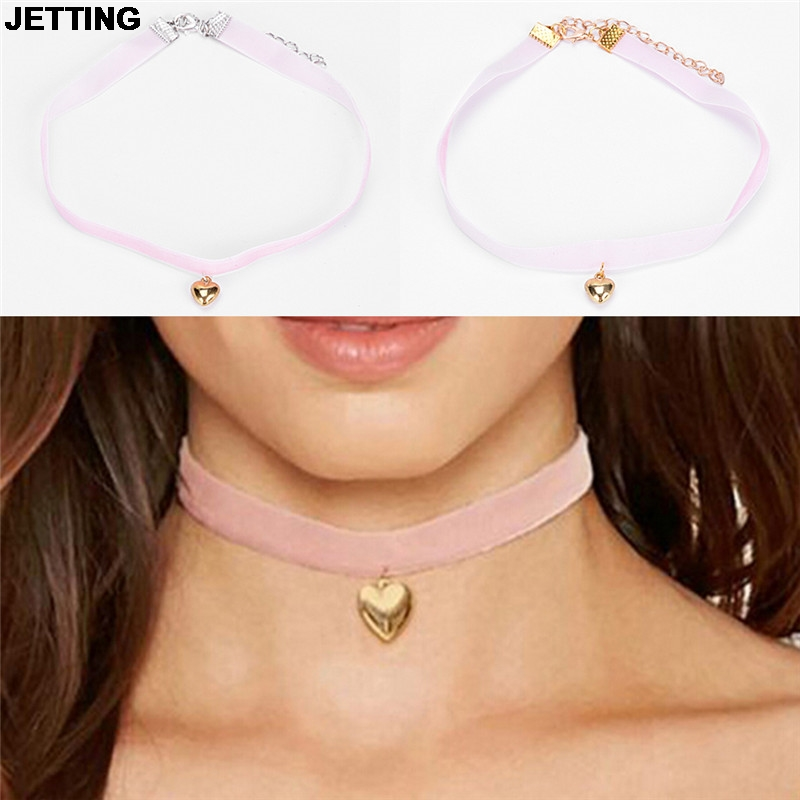 JETTING 1Pc Cloth Choker With Heart Pendant Necklace Gift For Women Girls