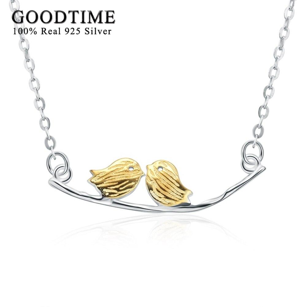 Náhrdelník Stříbro 925 Šperky Čistě Stříbrná Zlatá Barva Pár Ptáků Přívěsky Náhrdelníky Mincovní stříbro-šperky Náhrdelníky pro ženy