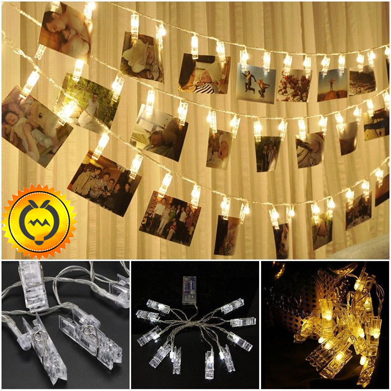 10 20 <font><b>30</b></font> <font><b>50</b></font> 80 LED Battery Power Hanging Picture Photo Pegs Clip Fairy Wire String Lamp Lights Chain Christmas Party Decoration image