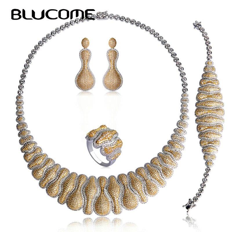 Blucome luxe Zircon deux tons couleur cuivre collier ras du cou boucles d'oreilles anneau bracelet bijoux ensemble femmes accessoires de fête de mariage