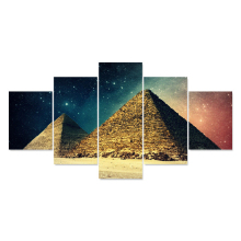 HD Printed Modern Abstract Painting 5 Panel Pyramid Beautiful Sky Tableau Frame Home Decor Room Poster Canvas Wall Art Pictures