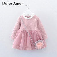 Dulce Amor Girls Dress Baby Girl Clothes Princess Dress With Bag High Quality 2017 Autumn Full
