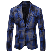 2019 new casual suit mens slim trend handsome British wind small jacket plaid wedding dress party