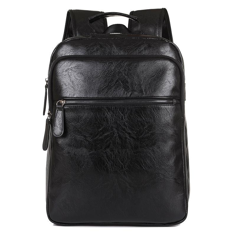 ФОТО Fashion Brand Oil skin Men Business Backpacks Leather School bag for teenager Casual Laptop Travel shoulder bags Rucksack 7V3023
