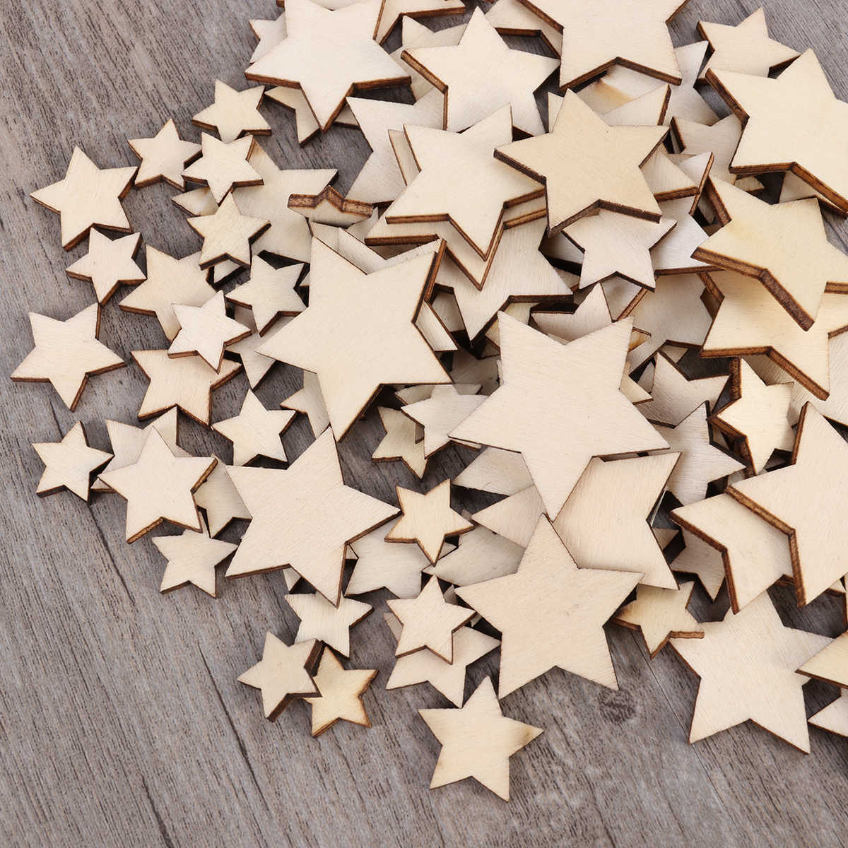 100PCS Unfinished Wooden Stars Assorted Size Cutout Discs For Arts Crafts DIY Decoration Birthday Wedding Display Decor