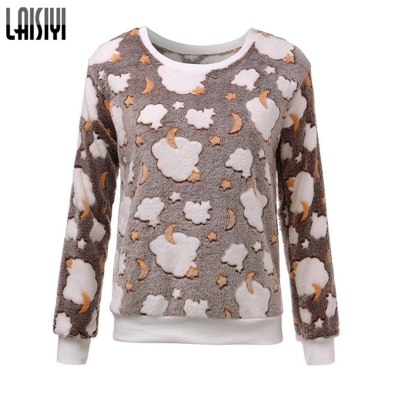 LAISIYI Free Shipping 2017 Women Hoody Spring Autumn Long Sleeve Casual Sweatshirts Cute Print Hoodies Moleton