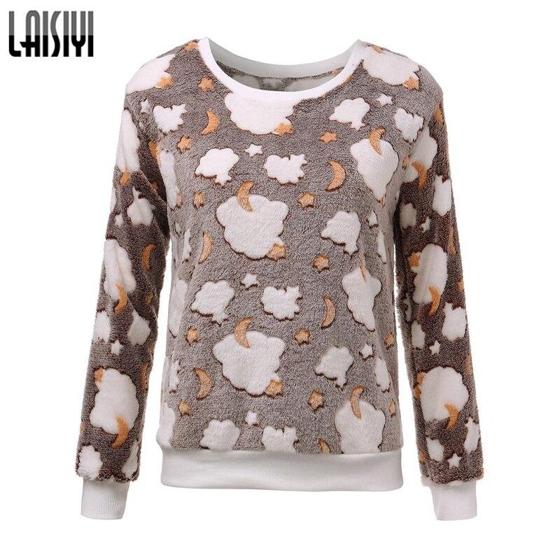 LAISIYI Free Shipping 2017 Women Hoody Spring Autumn Long Sleeve Casual Sweatshirts Cute Print Hoodies Moleton Feminine LYHO1086