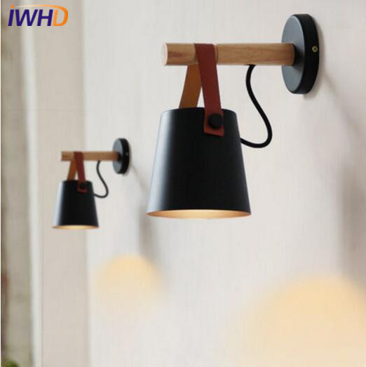 IWHD Modern Creative LED Wall Lamp Wooden Nordic Simple Wall Light Fixtures Home Lighting Indoor Bedside Sconce Cafe Luminaire 2 lights modern creative metal wall light simple glass shade wall sconces fixtures lighting for hallway bedroom bedside wl282 2
