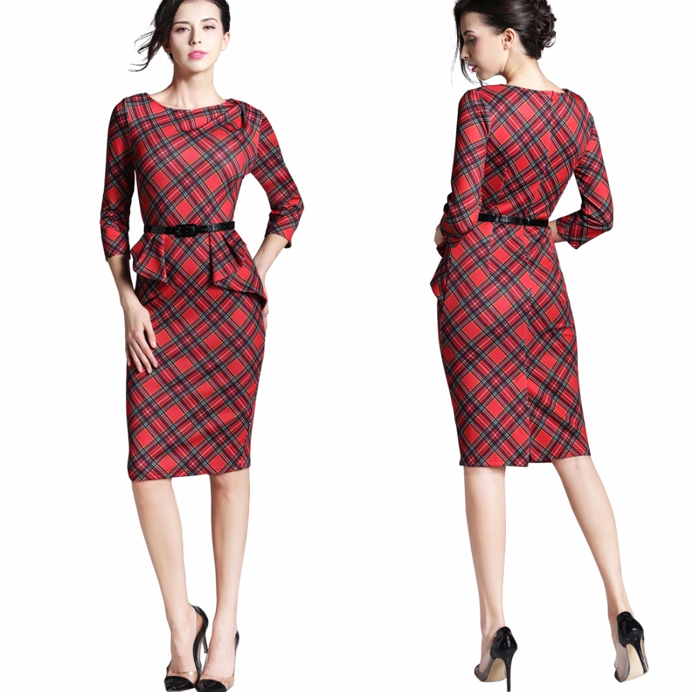 O-neck 3/4 Sleeve Belt Peplum Zipper Pencil Dress