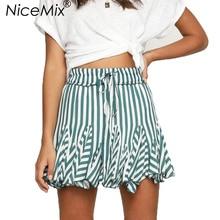 NiceMix 2019 Summer Harajuku Elastic High Waist Skirt Women Sweet Striped Lacing Skirts Womens Mini Tulle Pleated Femme