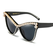 SOLO TU Trend Women Ladies Oversized Rhinestone Cateye Sun Glasses Brand Designer Luxury Elegant Hand Made Sunglasses UV400