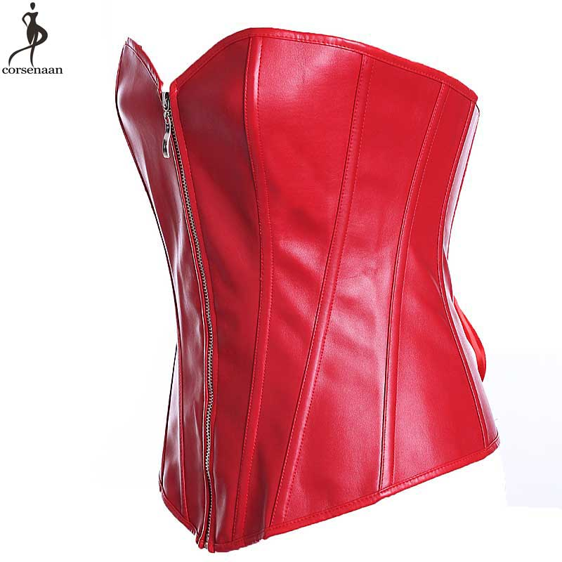 43a804fbf2ba6 Wholesale Corset Faux Synthetic Leather Corsets Fish Boned Korset Solid Black  Red Overbust Bustier Plus Size 6XL Zipper Corselet-in Bustiers   Corsets  from ...