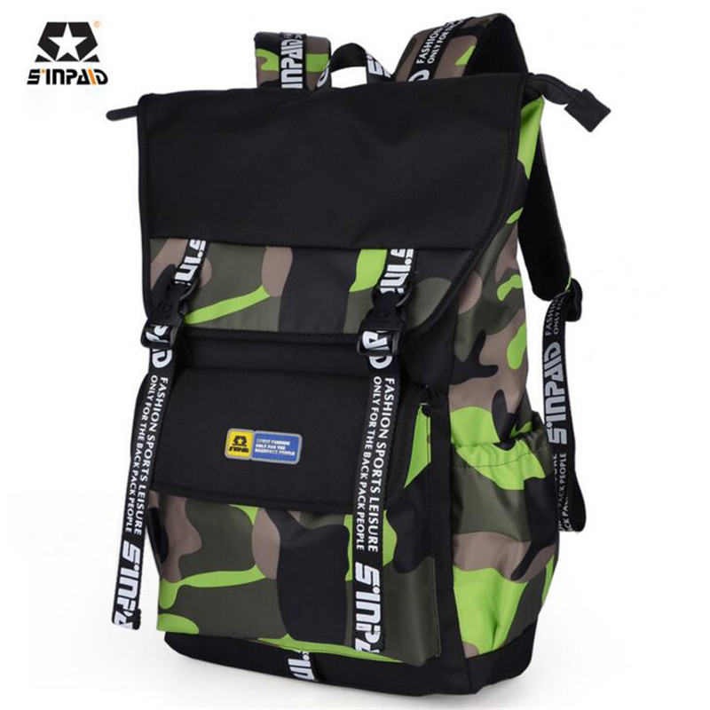SINPAID Hip Hop Oxford Backpack 15 inch Laptop Backpack Casual Camouflage School Bags For Teenagers Korean Travel Bag L028 large 14 15 inch notebook backpack men s travel backpack waterproof nylon school bags for teenagers casual shoulder male bag