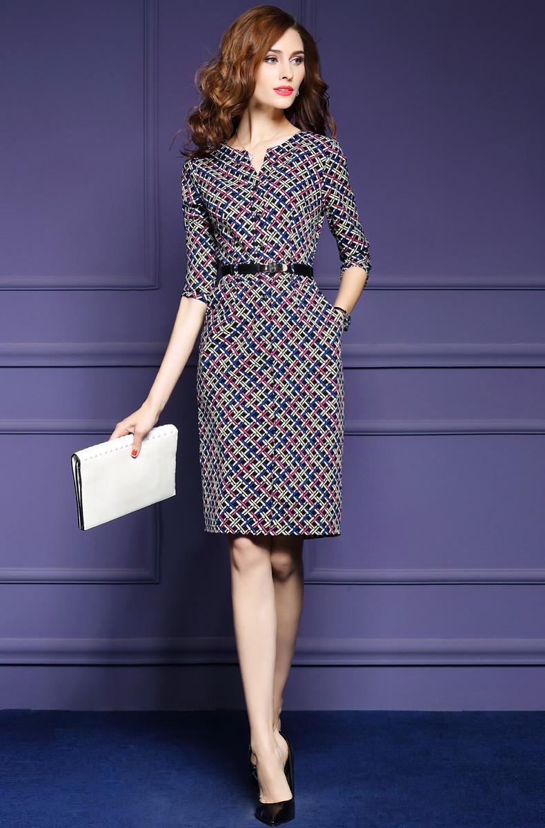 Zmvkgsoa Elegant Autumn Vintage Dress Fall Women Casual Half Sleeve Knee Length Multicolor Plaid A-Line Dress Feminina Y1697 4