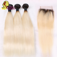 Facebeauty 1B 613 Honey Blonde Brazilian Straight Remy Human Hair 3 Bundles With Lace Closure Blonde