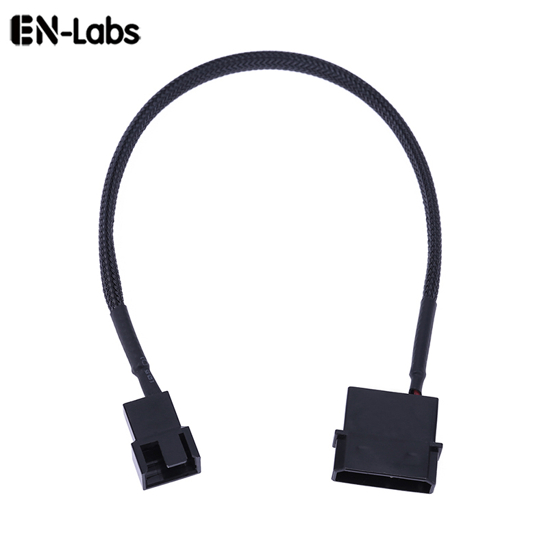 En-Labs IDE Molex 4pin Connector To 3Pin/4 Pin Cooler Cooling Molex Fan Adapter Splitter Power Sleeved Cable (12V Only)-25CM