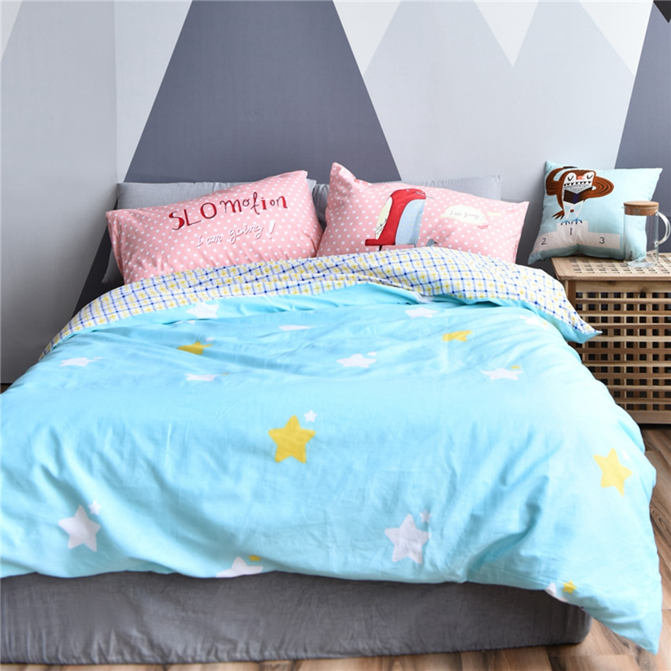 Blue and white bedding - Queen Twin Size Bedding Set 100 Cotton Blue Duvet Cover Yellow And White Stars