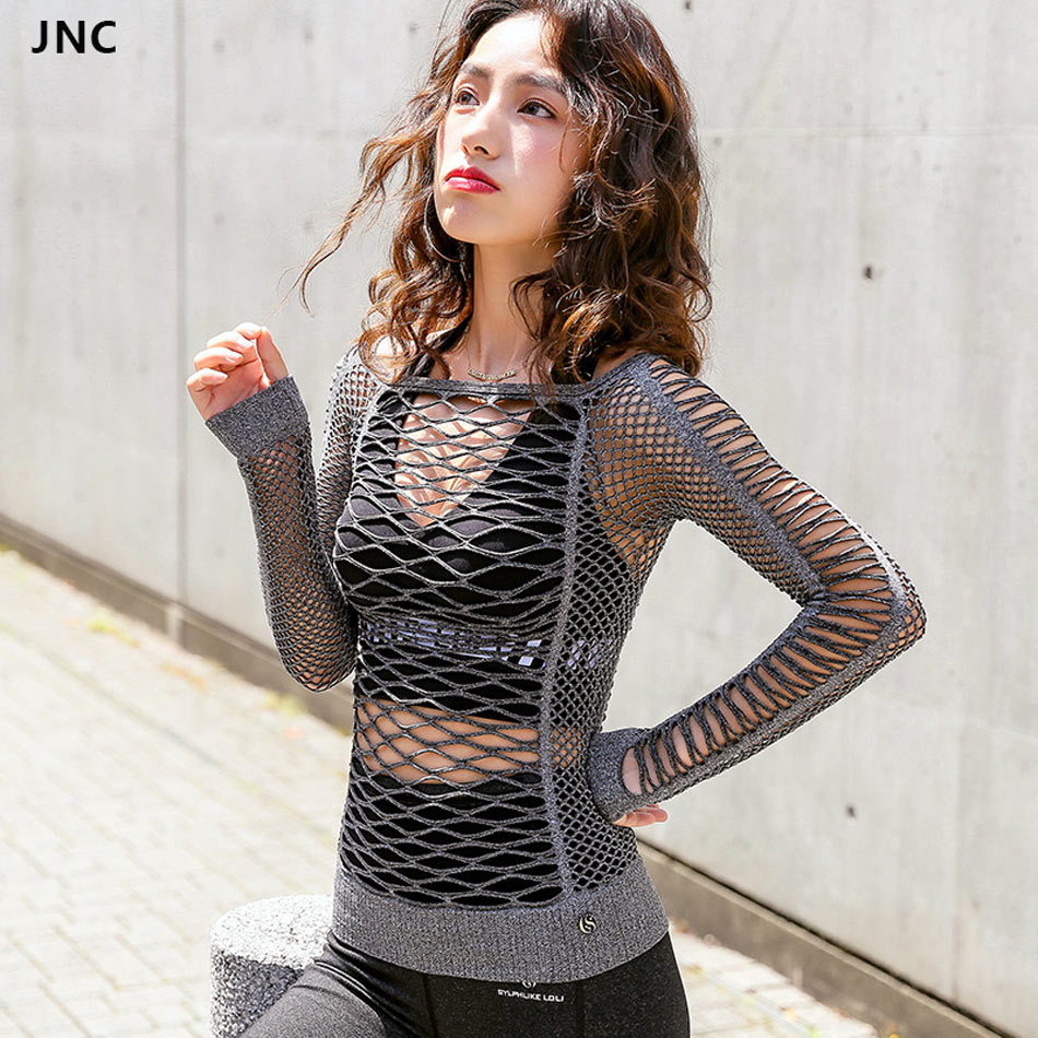 JNC Mesh Hollow Out Yoga Top Full Sleeve Sports T Shirt Quick Dry Fitness Sports Gym Running Jogging Shirts Female Workout Tops цена 2017
