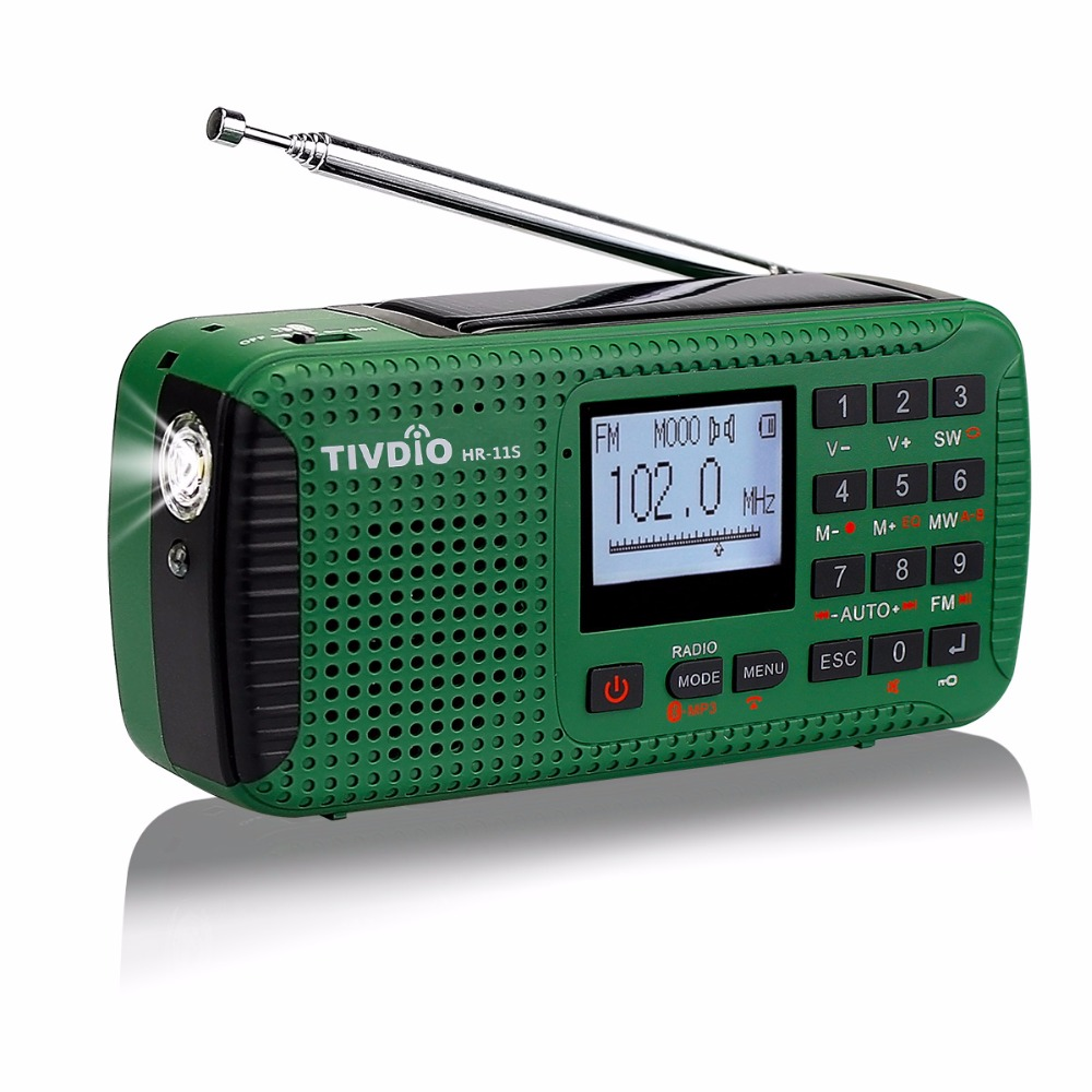 TIVDIO HR 11S Portable Radio Hand Crank Solar Emergency Radio Receiver FM MW SW With Bluetooth MP3 Player Digital Recorder F9208