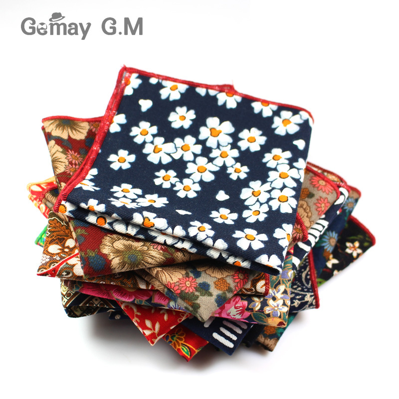 Fashion Suits Flower Printing Pocket Square 25cm*25cm Men's Cotton Handkerchiefs Chest Towel Ladies Hanky Hankies