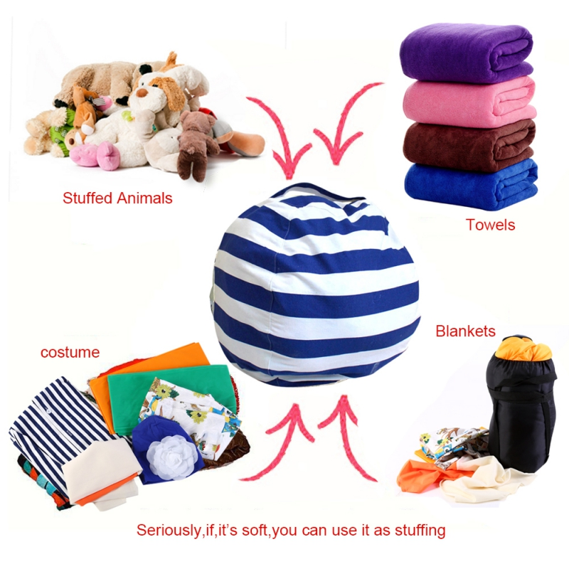 2017 New Year Modern Storage Stuffed Animal Storage Bean Bag Chair Portable Kids Toy Storage Bag&Play Mat Clothes Home Organizer