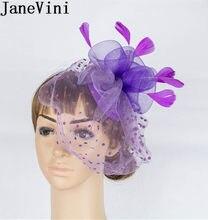 ba98ae2e15ff1 JaneVini Sombrero Boda púrpura Boda sombreros mujeres novias elegantes  Facinators velo en la cara de malla