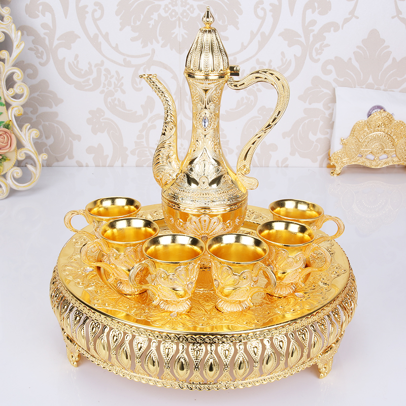 Europe Luxury Golden Color Wine Cups Set Tea Cups Set Vintage Home Decor Metal Craft Coffee Mugs Creative Gift 6cups+1pot+1plate-in Bar Sets from Home & Garden    1