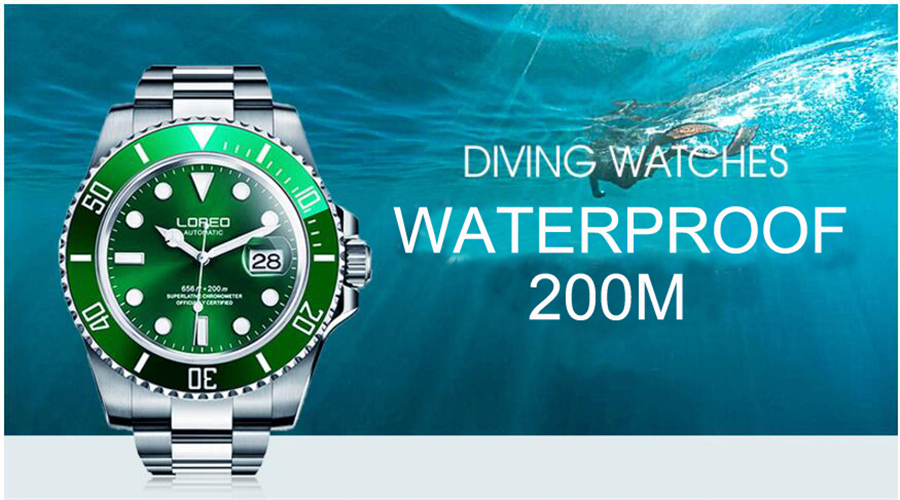 Image 4 - LOREO 200m Diving Automatic Watch Luminous Men Mechanical Men Watches Fashion Brand Relogio Masculino Waterproof Stainless Steel-in Sports Watches from Watches